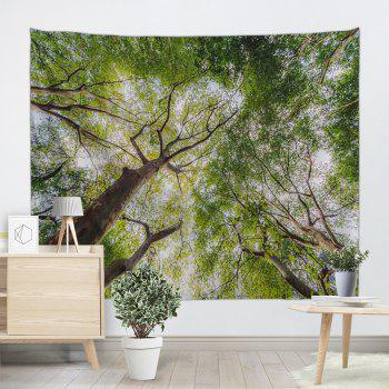 Forest Leafy Trees Print Tapestry Wall Hanging Art - GREEN W51 INCH * L59 INCH