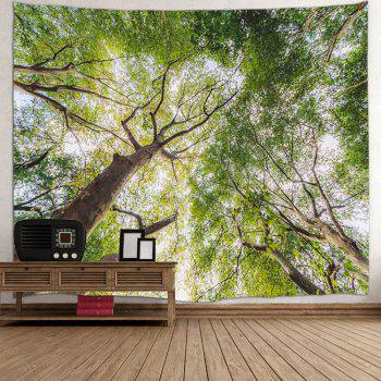 Forest Leafy Trees Print Tapestry Wall Hanging Art - GREEN W59 INCH * L59 INCH
