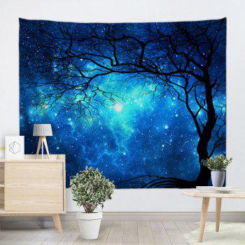 Galaxy Tree Print Tapestry Wall Hanging Art - BLUE W51 INCH * L59 INCH