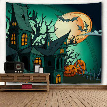 Halloween Theme Decoration Fabric Wall Tapestry - DEEP GREEN W71 INCH * L79 INCH