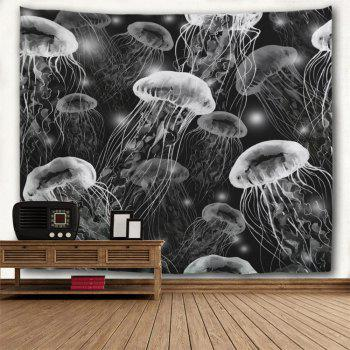 Jellyfish Print Wall Hanging Decorative Tapestry - BLACK WHITE W71 INCH * L91 INCH