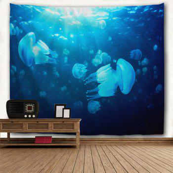 Ocean Jellyfish Print Fabric Wall Art Tapestry - BLUE W71 INCH * L79 INCH