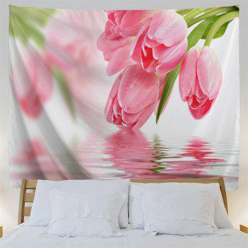 Water Tulip Printed Tapestry Wall Hangings - PINK W59 INCH * L59 INCH