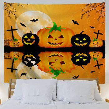 Halloween Wall Decor Inverted Pumpkin Tapestry - BRIGHT ORANGE W59 INCH * L59 INCH