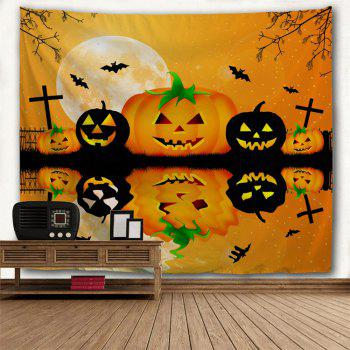 Halloween Wall Decor Inverted Pumpkin Tapestry - BRIGHT ORANGE W51 INCH * L59 INCH