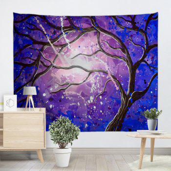 Tree Branch Print Tapestry Wall Hanging Art - BLUE / PURPLE W59 INCH * L79 INCH