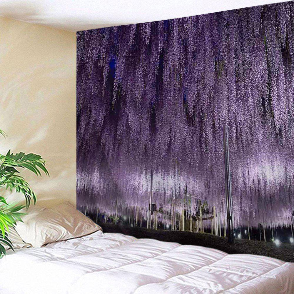 Romantic Wistaria Flower Wall Decoration Tapestry - PURPLE W71 INCH * L91 INCH
