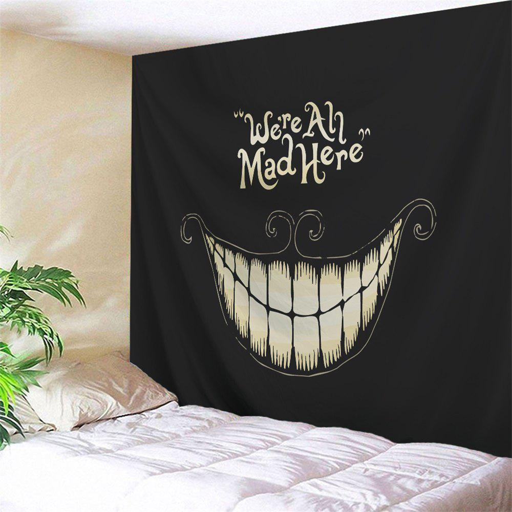 Halloween Funny Smile Printed Wall Art Decor Tapestry - BLACK W59 INCH * L79 INCH