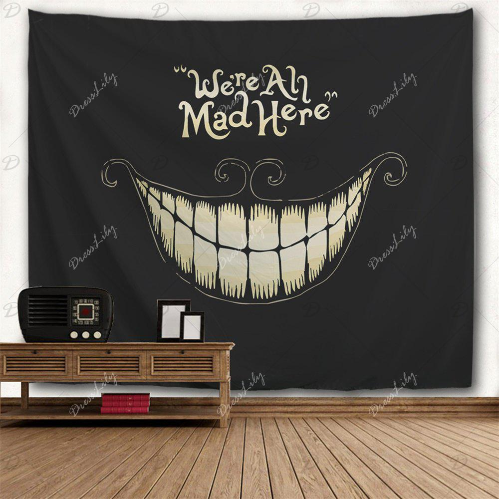 Halloween Funny Smile Printed Wall Art Decor Tapestry - BLACK W51 INCH * L59 INCH