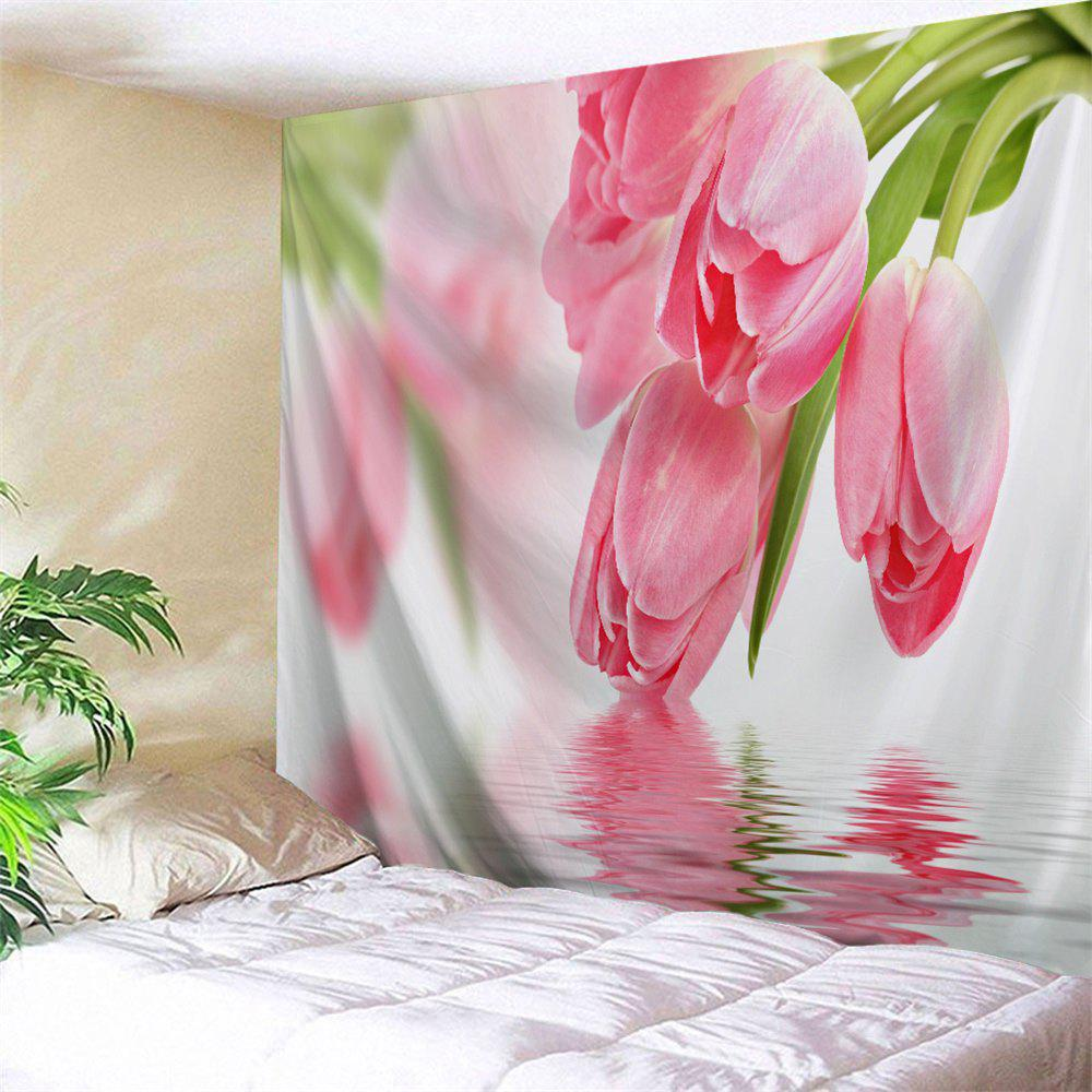 Water Tulip Printed Tapestry Wall Hangings - PINK W59 INCH * L79 INCH