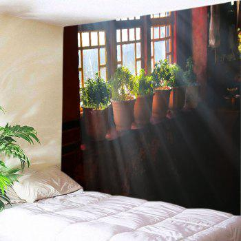 Window Pot Plants Print Tapestry Wall Hanging Art