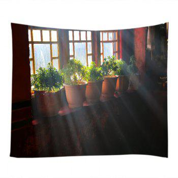 Window Pot Plants Print Tapestry Wall Hanging Art - DARK AUBURN W91 INCH * L71 INCH