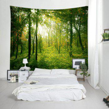Sunlight Forest Pattern Tapestry Wall Hanging - GREEN W79 INCH * L59 INCH