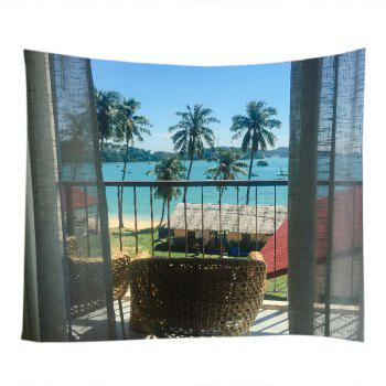 Balcony Beach Trees Print Tapestry Wall Hanging Art - LAKE BLUE W79 INCH * L71 INCH