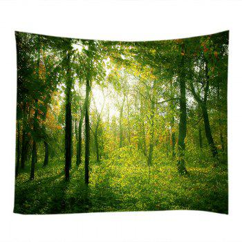 Sunlight Forest Pattern Tapestry Wall Hanging - GREEN W91 INCH * L71 INCH