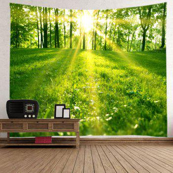 Sunlight Forest Lawn Print Tapestry Wall Hanging Art - GREEN W59 INCH * L59 INCH