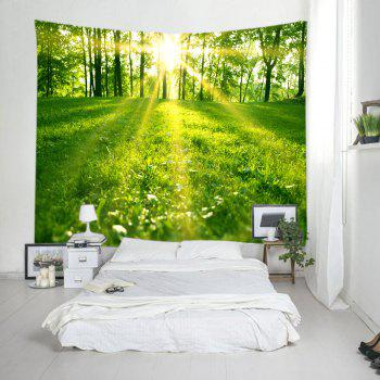 Sunlight Forest Lawn Print Tapestry Wall Hanging Art - GREEN W79 INCH * L59 INCH