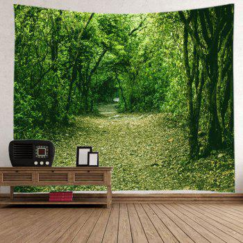 Forest Pathway Print Tapestry Wall Hanging Decor - GREEN W59 INCH * L59 INCH