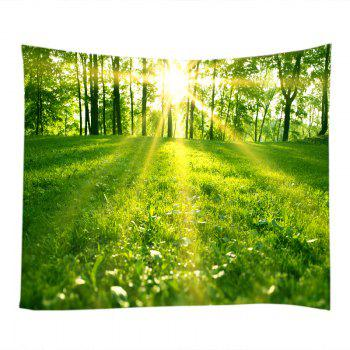 Sunlight Forest Lawn Print Tapestry Wall Hanging Art - GREEN GREEN