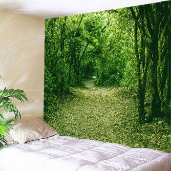 Forest Pathway Print Tapestry Wall Hanging Decor - GREEN GREEN