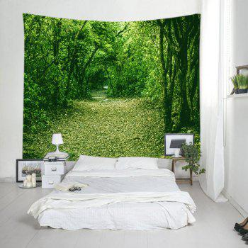 Forest Pathway Print Tapestry Wall Hanging Decor - GREEN W91 INCH * L71 INCH