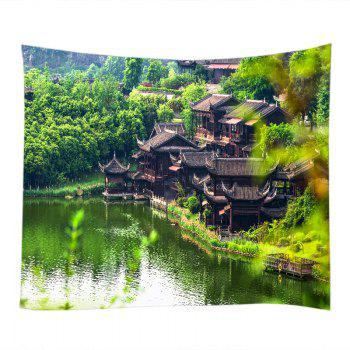 Retro Building Lake Print Tapestry Wall Hanging Art - W59 INCH * L59 INCH W59 INCH * L59 INCH
