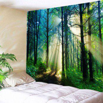 Forest Sunlight Pattern Tapestry Wall Hanging Art - GREEN GREEN