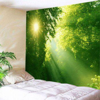 Sunlight Dense Forest Print Tapestry Wall Hanging Art - GREEN W79 INCH * L59 INCH