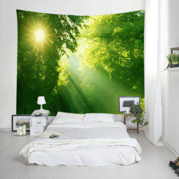 Sunlight Dense Forest Print Tapestry Wall Hanging Art - GREEN W91 INCH * L71 INCH