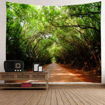 Forest Driveway Print Tapestry Wall Hanging Art - GREEN GREEN