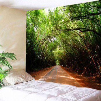 Forest Driveway Print Tapestry Wall Hanging Art - GREEN W91 INCH * L71 INCH