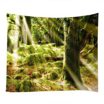 Forest Stone Print Tapestry Wall Hanging Art - GREEN W79 INCH * L71 INCH
