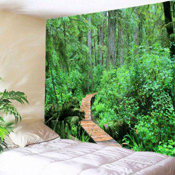 Forest Wood Path Print Tapestry Wall Hanging Art - GREEN GREEN