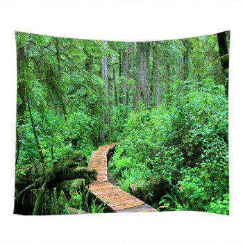 Forest Wood Path Print Tapestry Wall Hanging Art - GREEN W79 INCH * L71 INCH