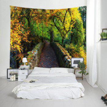 Forest Bridge Print Tapestry Wall Hanging Art - GREEN W59 INCH * L51 INCH