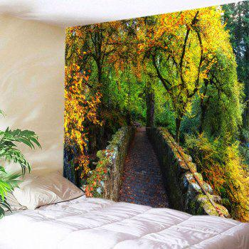 Forest Bridge Print Tapestry Wall Hanging Art - GREEN W91 INCH * L71 INCH