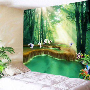 Forest Falls Print Tapestry Wall Hanging Art - GREEN W79 INCH * L59 INCH