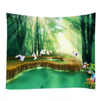 Forest Falls Print Tapestry Wall Hanging Art - GREEN W79 INCH * L71 INCH