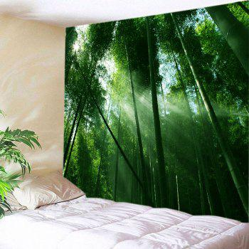 Sunlight Bamboo Forest Print Tapestry Wall Hanging Art - GREEN W79 INCH * L71 INCH