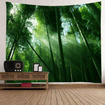 Sunlight Bamboo Forest Print Tapestry Wall Hanging Art - GREEN GREEN