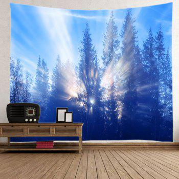 Sunlight Trees Print Tapestry Wall Hanging - AZURE AZURE