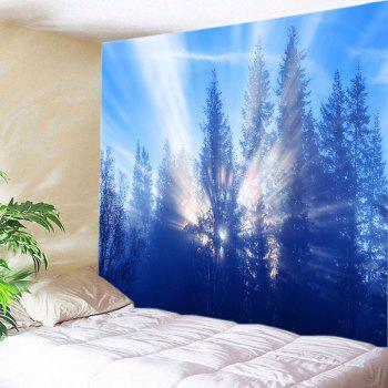 Sunlight Trees Print Tapestry Wall Hanging - AZURE W91 INCH * L71 INCH