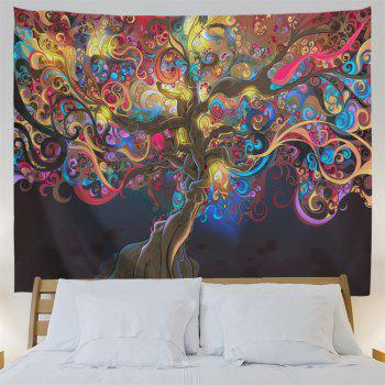 Tree Of Life Print Tapestry Wall Hanging Art - COLORMIX W71 INCH * L91 INCH