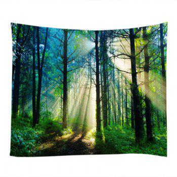 Forest Sunlight Pattern Tapestry Wall Hanging Art - GREEN W91 INCH * L71 INCH