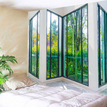 French Window View Print Tapestry Wall Hanging Art - GREEN GREEN