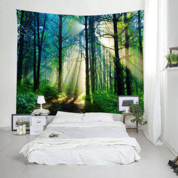 Forest Sunlight Pattern Tapestry Wall Hanging Art - GREEN W59 INCH * L51 INCH
