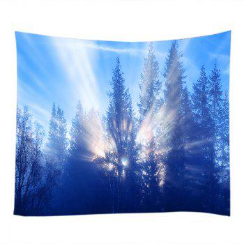Sunlight Trees Print Tapestry Wall Hanging - AZURE W59 INCH * L51 INCH