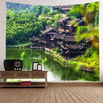 Retro Building Lake Print Tapestry Wall Hanging Art - GREEN W91 INCH * L71 INCH