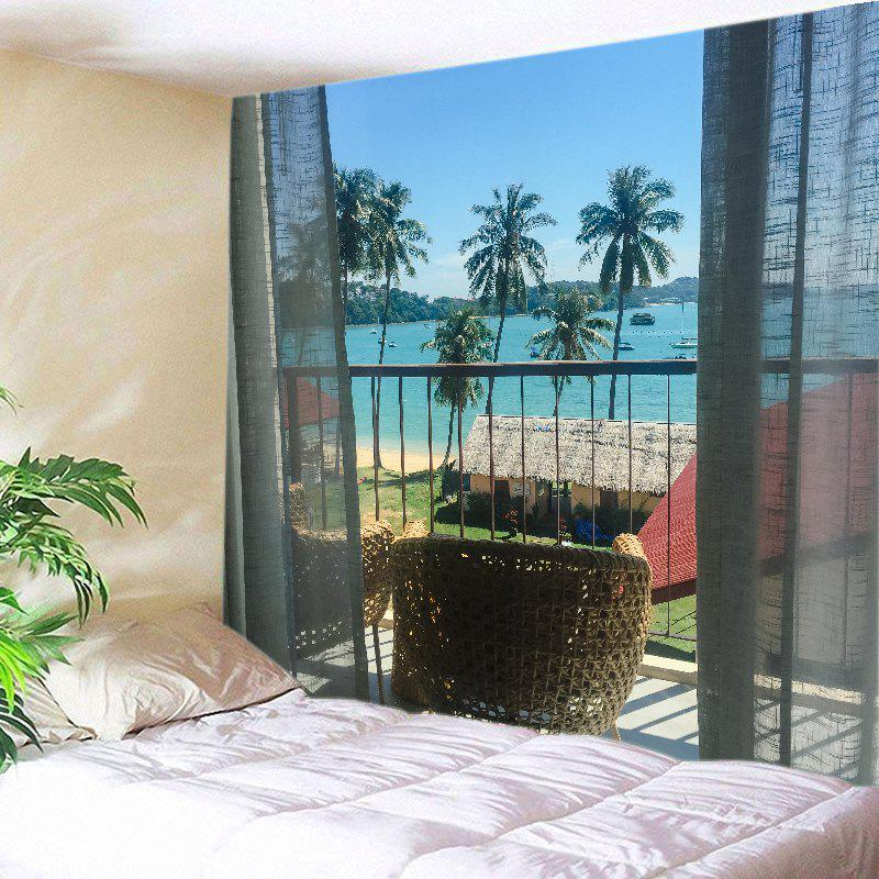 Balcony Beach Trees Print Tapestry Wall Hanging Art - LAKE BLUE W91 INCH * L71 INCH