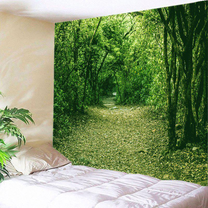 Forest Pathway Print Tapestry Wall Hanging Decor - GREEN W79 INCH * L71 INCH